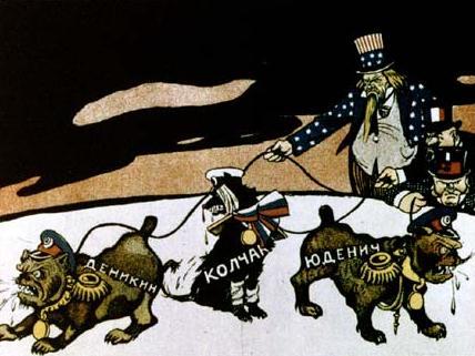 This 1919 bolshevik poster shows the three white generals denikin